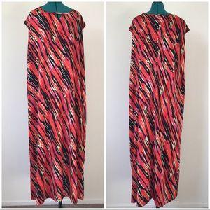 Long Orange and Black Maxi Summer Paint Dress